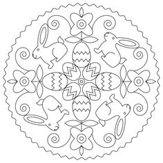 Easter Mandala with Bunny and Eggs coloring page from Easter mandalas category. Select from 24659 printable crafts of cartoons, nature, animals, Bible and many more.