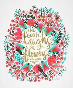 """The perfect Valentine: """"The Earth Laughs in Flowers – Pink & Gold"""" Print by Cat Coquillette   Redbubble"""