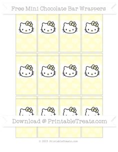 Free Cream Heart Pattern Hello Kitty Mini Chocolate Bar Wrappers