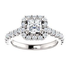 14kt White Gold 4.5mm Center Square Cubic Zirconia or 14 Halo Diamonds and 14 Accent Round Diamonds Engagement Ring...(ST122804:990:P).! Price: $1329.99
