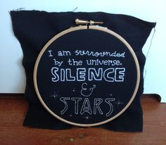 One of my favorite quotes from A Million Suns; love the embroidery!