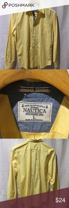 Nautica Sea Voyage True Craftsmanship Shirt Nautica Sea Voyage True Craftsmanship Button Up Long Sleeved Shirt Size Large.Excellent condition. No spots, stains or tears. Feel free to ask any questions.  This Item have been Worn but has no visible signs of wear in Excellent Condition. Nautica Shirts Casual Button Down Shirts