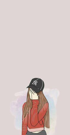 Cartoon Girl Drawing, Girl Cartoon, Cartoon Art, Framed Wallpaper, Mood Wallpaper, Cool Anime Girl, Anime Art Girl, Cover Wattpad, Simple Canvas Paintings