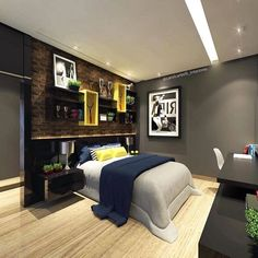 25 Cool and Cozy Teenage Boy Bedroom Ideas For Your Beloved Son Bedroom design is one that is often heard when building, arranging and decorating a useful place for a place t Teen Boy Rooms, Teenage Room, Teenage Boy Bedrooms, Teenage Guys, Shared Bedrooms, Home Bedroom, Modern Bedroom, Bedroom Ideas, Bedroom Boys
