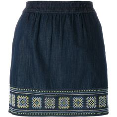 Vanessa Bruno Athé embroidered denim skirt ($175) ❤ liked on Polyvore featuring skirts, blue, knee length denim skirt, blue skirt, denim skirt, vanessa bruno athé and embroidered skirt