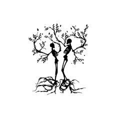 Ideas family tree tattoo designs wall art for 2019 Tatto Skull, Skull Couple Tattoo, La Muerte Tattoo, Totenkopf Tattoos, Skeleton Tattoos, Vinyl Wall Art, Future Tattoos, Skin Art, Body Art Tattoos