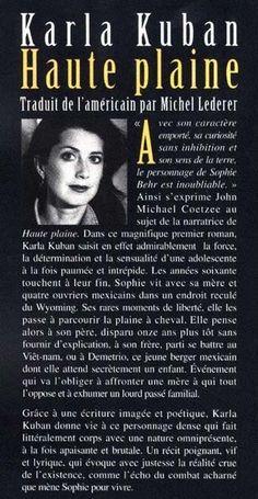 Karla Kuban,  Haute Plaine - ed.Renaud-Bray, 4ème de couverture