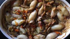 Καλαμάρια με ρύζι στο φούρνο by beeftekakia Pot Roast, Food And Drink, Beef, Ethnic Recipes, Roast Beef, Ox, Ground Beef, Beef Stews, Steak