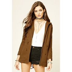 Forever 21 Women's  Drawstring Utility Jacket ($21) via Polyvore featuring outerwear, jackets, forever 21 jackets, forever 21, drawstring jacket, brown utility jacket and brown jacket