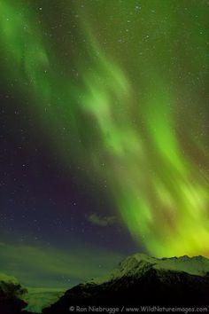 Northern Lights over Exit Glacier, Kenai Fjords National Park, Alaska.