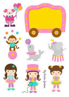The Circus for Girls Free Printable Cake Toppers. Clown Party, Circus Theme Party, Party Themes, Circus Wedding, 14th Birthday, Circus Birthday, Cake Birthday, Birthday Parties, Little King