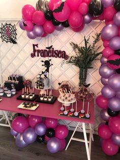 Pink purple and black color scheme! 2nd Birthday Party Themes, Birthday Balloons, First Birthday Parties, Black Party Decorations, Diy Birthday Decorations, Rock Star Party, Pink Halloween, 1st Birthdays, Dessert