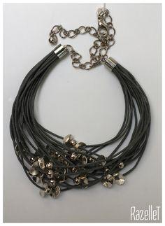 Multi strand grey necklace with metal beads- RazelleT Metal Beads, Beaded Necklace, Grey, Jewelry, Beaded Collar, Gray, Jewlery, Bijoux, Schmuck
