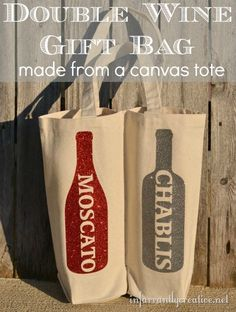 Make a double wine tote from a canvas bag and some Tulip Shimmer Sheets… #winebag