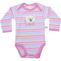 Body Bebê Menina Ursa Listrado Rosa - Best Club :: 764 Kids | Roupa bebê e infantil