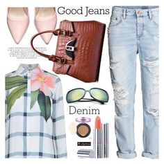 """""""Distressed Denim 3"""" by paculi ❤ liked on Polyvore featuring H&M, Ted Baker, women's clothing, women, female, woman, misses, juniors, distresseddenim and nastydress"""