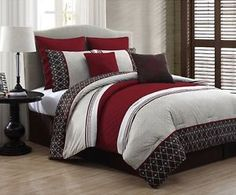 New-Beautiful-Luxurious-King-Size-Bed-8-Piece-Comforter-Set-Bedroom-Bedding-Red