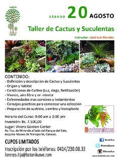 @Botanikusve #cactus #suculentas #orígen  TALLER DE CACTUS Y SUCULENTAS  * Instructor: José Luís Morales * 20 de agosto del 2016 * Av. Fco. De Miranda, Vivero Garden Center al lado Parque del Este, Caracas BOTANIKUS ARQUITECTURA PAISAJISTA * + 58 (414) 230.0833  * Twitter: @Botanikusve  * http://www.botanikusve.com @botanikus #cultivo #enfermedades #caracas #jardineria #jardines