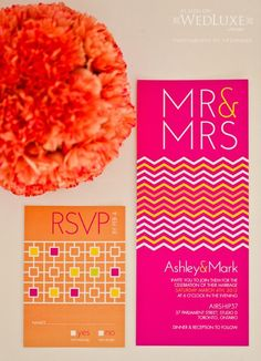Hot Pink and Orange Wedding Invitations. View more tips & ideas on our Facebook Page : https://www.facebook.com/BoutiqueBridalParty