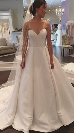 Wedding Dresses, Wedding Gown,White Sweetheart Satin Wedding Dress