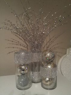 Silver glass centepiece