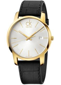 CALVIN KLEIN CITY GOLD TONE WATCH K2G2G5C6 £210.00 Handsome Gents Calvin Klein City Date watch has a PVD gold plated case and is fitted with a quartz movement. #ck #calvinklein #kj