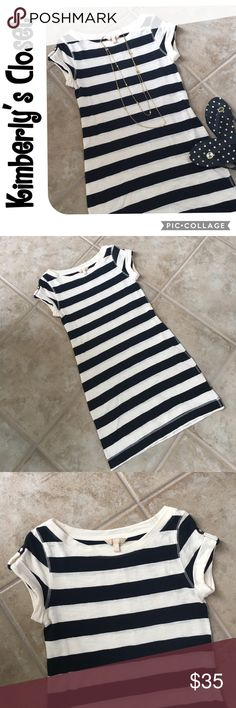 """⚡️FLASH SALE⚡️BANANA REPUBLIC t-shirt dress Super Cute and comfy Banana Republic t-shirt dress.  Navy and off-white stripes.  Cuffed sleeves with button accent.  Thick stitching detail around seams.  Measures 33.5"""" from top to bottom down the center of the back.  100% cotton.  Perfect for any summer day.  Only worn one time - excellent condition. Banana Republic Dresses"""