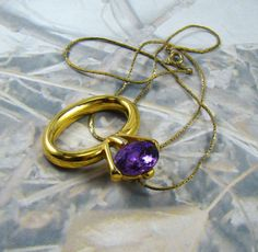 Purple Diamond Ring Necklace  1980's Bling  Glass by BellesBeehive