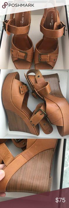 d289d97db0 Cognac Sandals Leather platform wedge sandals w wood midsole of wedge  portion Via Spiga Shoes Sandals