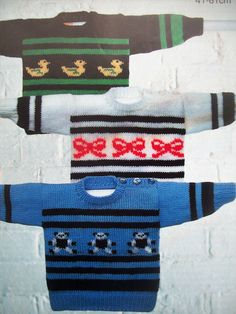 Free Childrens Knitting Patterns, Clothing Themes, Baby Boy Sweater, Jumper Knitting Pattern, Intarsia Patterns, Vintage Knitting, Double Knitting, Baby Boys, Boy Or Girl
