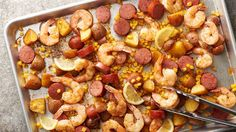 SHEET PAN SHRIMP BOIL Enjoy the big flavors of a shrimp boil — without the big production — any night of the week with this fun and easy take on the coastal classic. Seafood Recipes, Dinner Recipes, Cooking Recipes, Healthy Recipes, Corn Recipes, Crockpot Recipes, Recipies, One Dish Dinners, One Pot Meals
