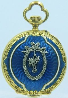 Antique Blue Guilloche Enameledl Pocket Watch with encircled Flower Basket Diamond Embellishments