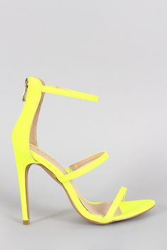 Liliana Neon Triple Straps Single Sole Heel