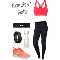 Workout! by lmtomsick on Polyvore featuring polyvore, fashion, style, NIKE, Lorna Jane, Fitbit and Lifefactory