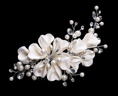 Crystals and pearls hair ornament at www.forprincessbride.com