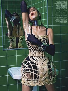 Anja Rubik in Dolce & Gabbana, Spring 2013 photographed by Mario Sorrenti for Vogue Paris, March 2013