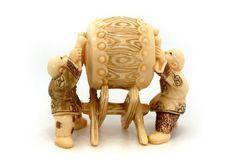 Mammoth Ivory Netsuke - Monks playing on A drum