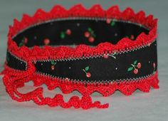 Headband with Ties, Red and Black, Cherry Print, Crochet Trim Get ready for a red hot summer with this headband. Get it at http://zibbet.com/cozy