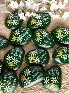 Words Of Encouragement Painted Rock Stay Strong Have Faith Affirmation Stones Live Love Laugh Words Of Wisdom Stones - Painting Rock Painting Patterns, Rock Painting Ideas Easy, Rock Painting Designs, Pebble Painting, Love Painting, Pebble Art, Stone Crafts, Rock Crafts, Inspirational Rocks