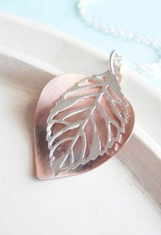 Silver Necklace Leaf Copper and Silver
