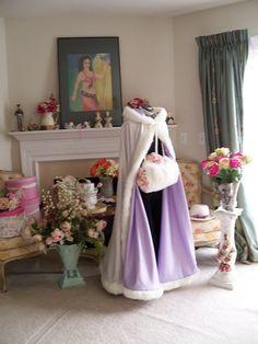 Rapunzel Bridal cape Lilac / Ivory Satin fur 52 by capeandcrown13
