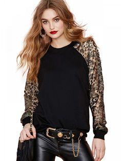 Black Contrast Crochet Sleeve Sweatshirt
