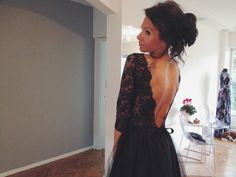 Maxi Black Open Back Lace Evening Gown Tulle Skirt by NelliUzun
