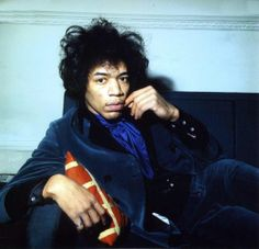 Jimi Hendrix photographed by Petra Niemeier at home Montagu Square, London, 1967.