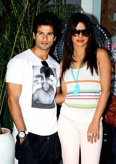 Indian Bollywood film actors Shahid Kapoor (L) and Priyanka Chopra pose for a photograph during the promotion of the upcoming Hindi film 'Teri Meri Kahaani' in Mumbai.