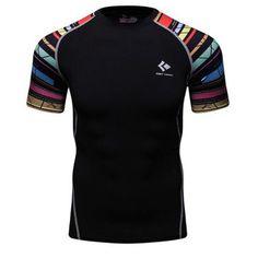 Men's T-shirt Compression Shirt Bodybuilder Skin Print Tight Short Sleeve Clothing