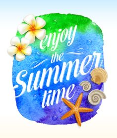 Buy Summer Time Greeting with Tropical Flowers by Sergo on GraphicRiver. Summer time greeting with Tropical flowers and sea creatures on a watercolor background banner – vector illustration. Free Vector Backgrounds, Vector Free, Vector Graphics, Enjoy Summer, Summer Time, Tropical Flowers, Floral Flowers, Clip Art, Themes Free