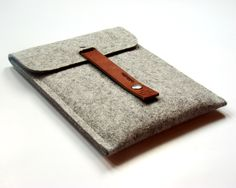addaskin  izredno usepešen  iPad MINI sleeve iPad mini case iPad mini cover pure grey german wool felt leather straps, simple, very protectiv, wrapped