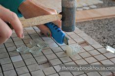 Prying tiles off Diy Mirror Frame Bathroom, Mirror Tiles, Coastal Decor, Projects To Try, Bathroom Designs, Mosaics, Bathrooms, Dining Room, House