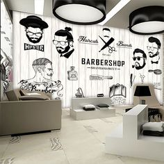Barber shop decor with some loose, subtle waves is a soft and romantic style. Barber Shop Interior, Barber Shop Decor, Salon Wallpaper, 3d Wallpaper, Wallpaper Ideas, Barber Logo, Barber Poster, Barbershop Design, Barbershop Ideas